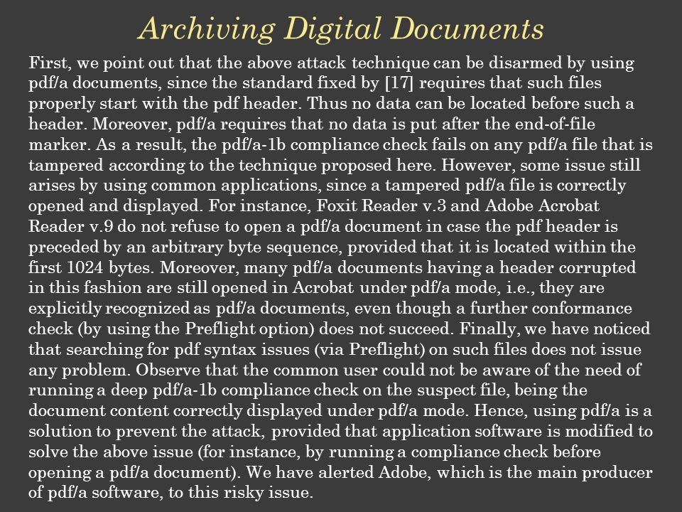 Archiving Digital Documents