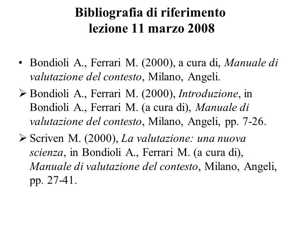 Bibliografia di riferimento lezione 11 marzo 2008