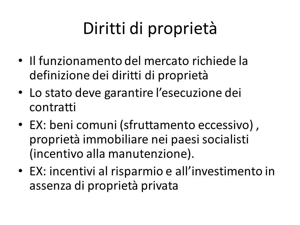 Diritti di proprietà Il funzionamento del mercato richiede la definizione dei diritti di proprietà.