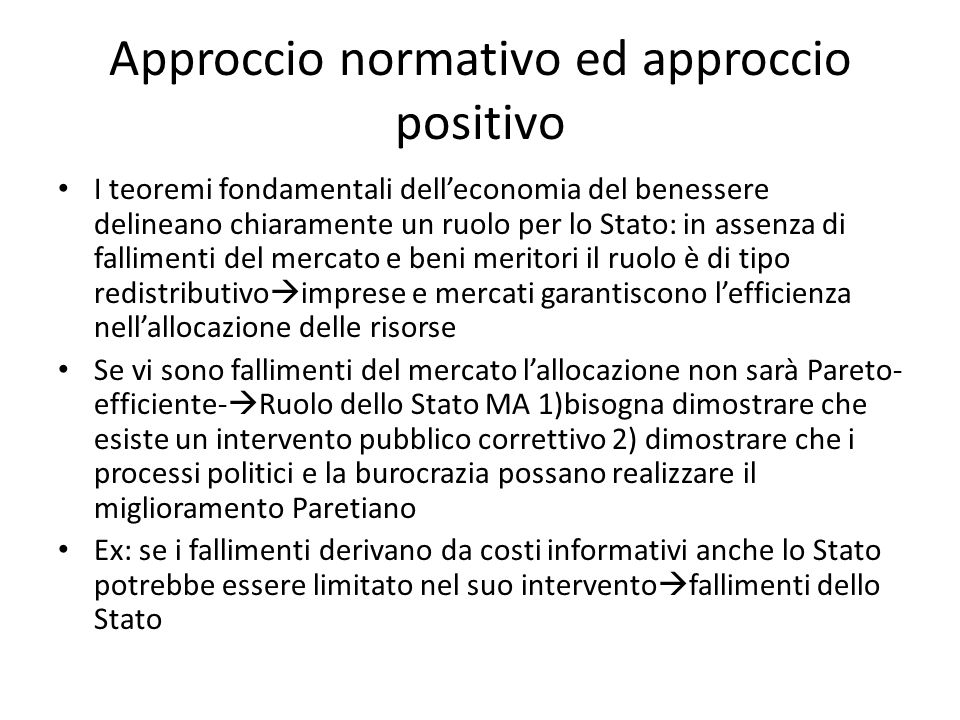 Approccio normativo ed approccio positivo