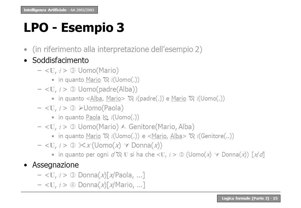 LPO - Esempio 3 (in riferimento alla interpretazione dell'esempio 2)