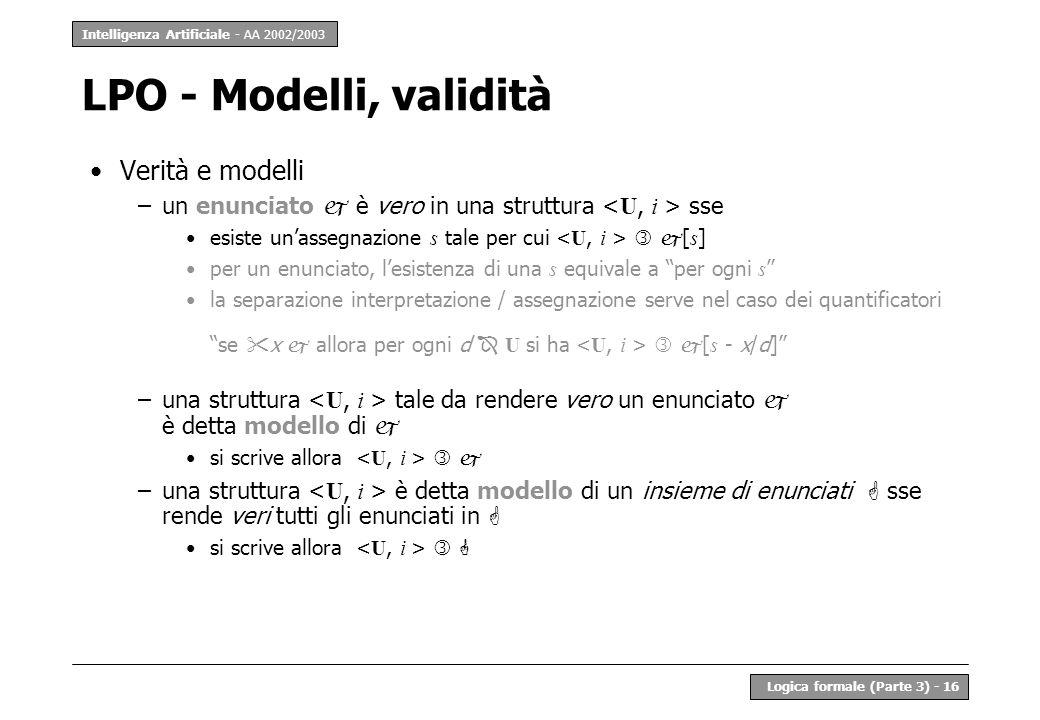 LPO - Modelli, validità Verità e modelli