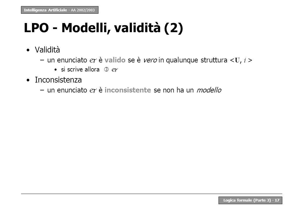 LPO - Modelli, validità (2)