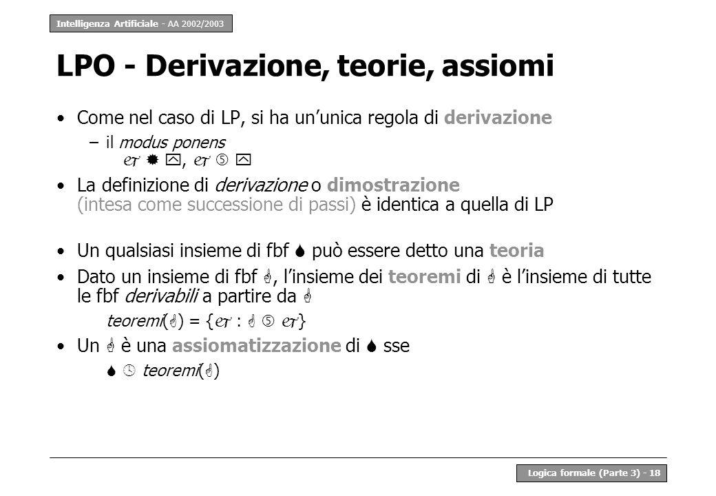 LPO - Derivazione, teorie, assiomi
