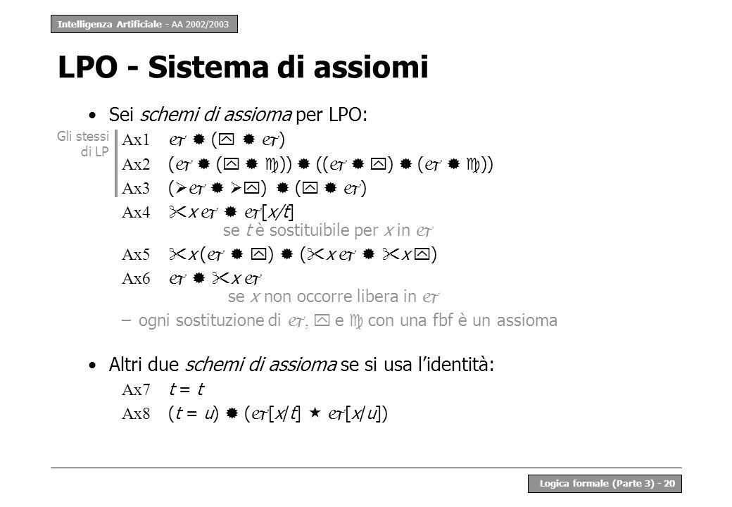 LPO - Sistema di assiomi
