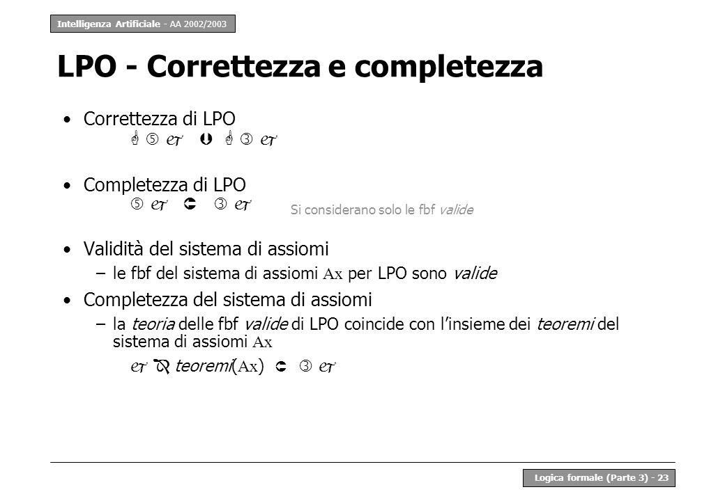 LPO - Correttezza e completezza