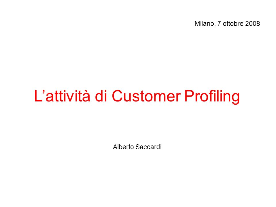 L'attività di Customer Profiling