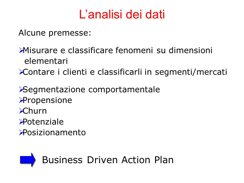 L'analisi dei dati Business Driven Action Plan Alcune premesse: