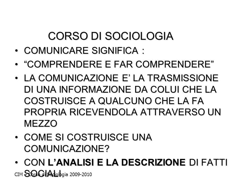 CORSO DI SOCIOLOGIA COMUNICARE SIGNIFICA :