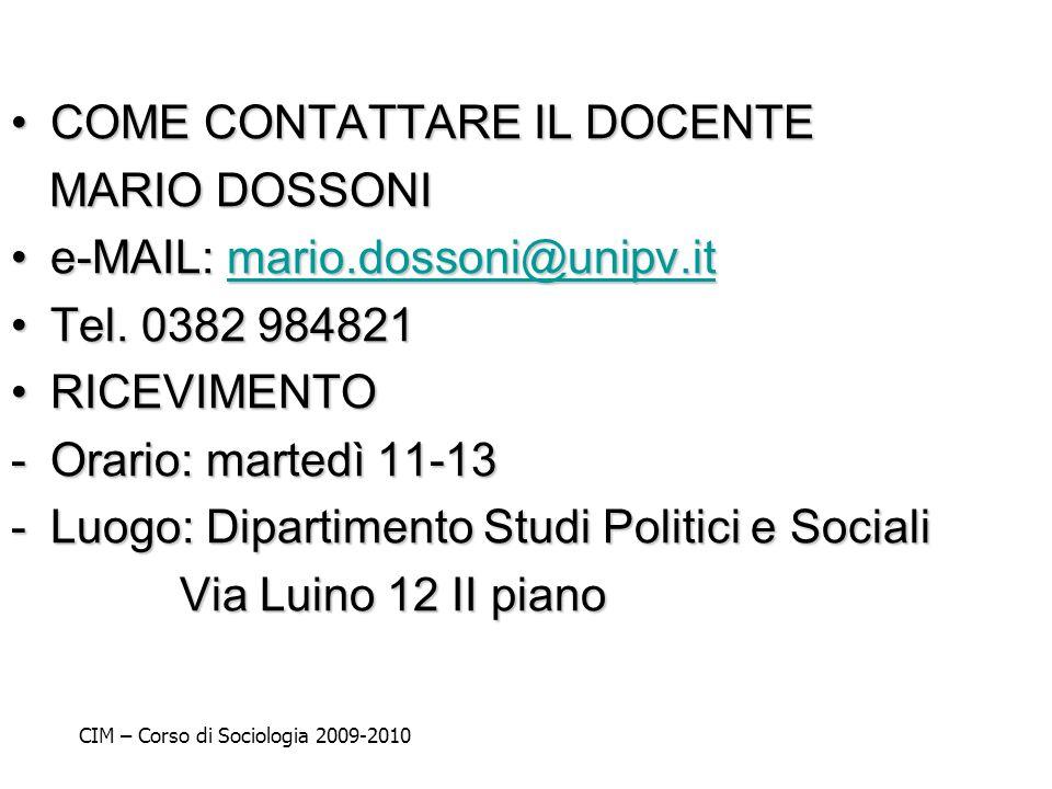 COME CONTATTARE IL DOCENTE MARIO DOSSONI