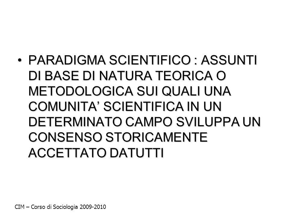 PARADIGMA SCIENTIFICO : ASSUNTI DI BASE DI NATURA TEORICA O METODOLOGICA SUI QUALI UNA COMUNITA' SCIENTIFICA IN UN DETERMINATO CAMPO SVILUPPA UN CONSENSO STORICAMENTE ACCETTATO DATUTTI