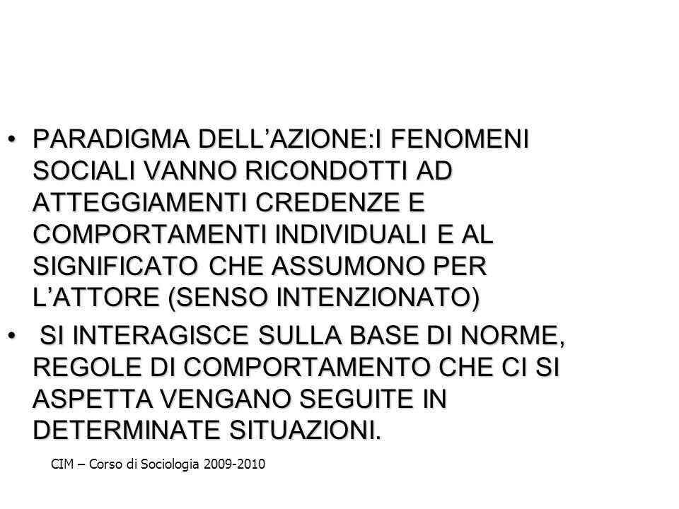 PARADIGMA DELL'AZIONE:I FENOMENI SOCIALI VANNO RICONDOTTI AD ATTEGGIAMENTI CREDENZE E COMPORTAMENTI INDIVIDUALI E AL SIGNIFICATO CHE ASSUMONO PER L'ATTORE (SENSO INTENZIONATO)
