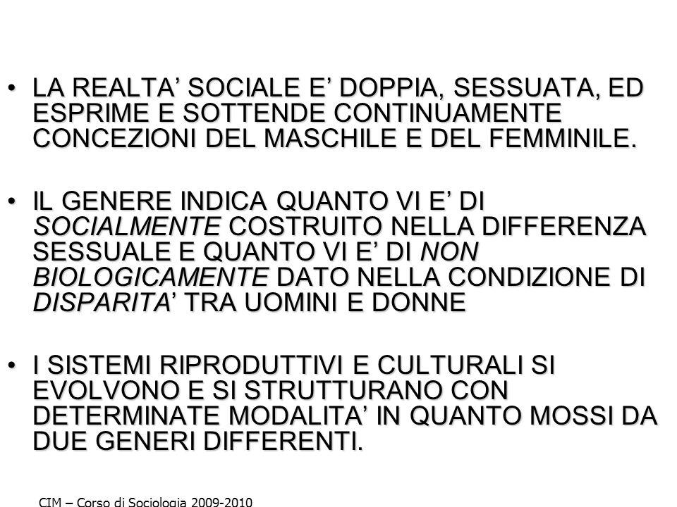 LA REALTA' SOCIALE E' DOPPIA, SESSUATA, ED ESPRIME E SOTTENDE CONTINUAMENTE CONCEZIONI DEL MASCHILE E DEL FEMMINILE.