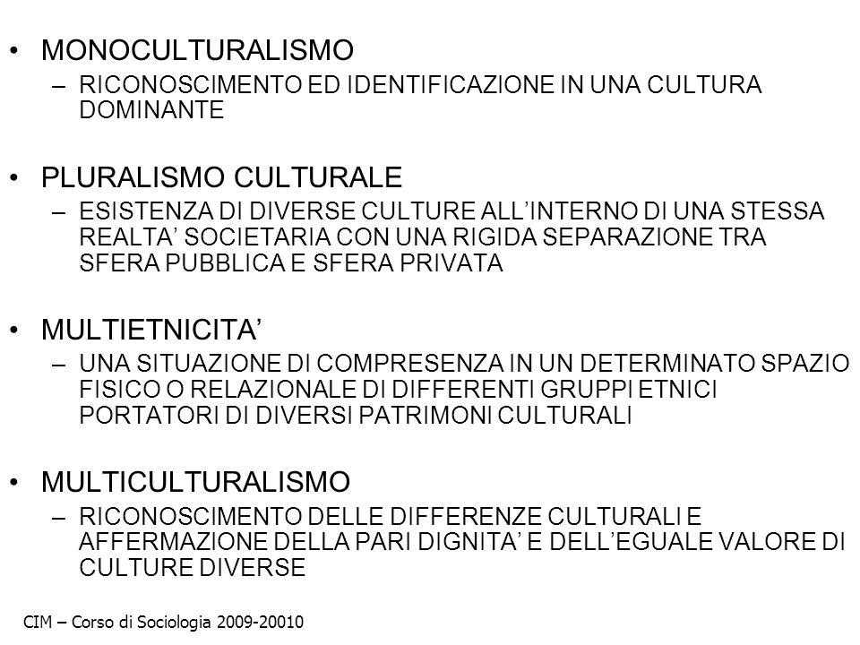 MONOCULTURALISMO PLURALISMO CULTURALE MULTIETNICITA' MULTICULTURALISMO