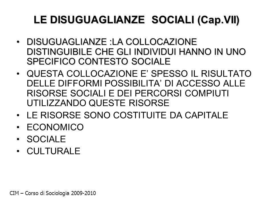 LE DISUGUAGLIANZE SOCIALI (Cap.VII)