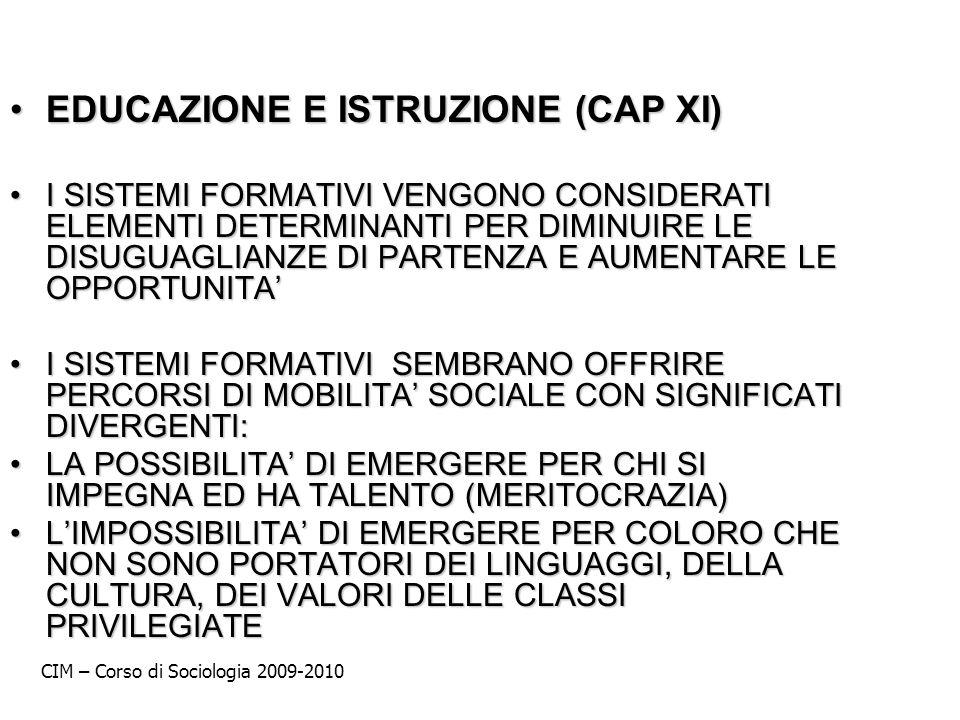 EDUCAZIONE E ISTRUZIONE (CAP XI)