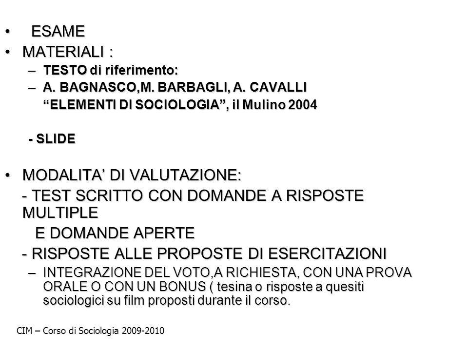 MODALITA' DI VALUTAZIONE:
