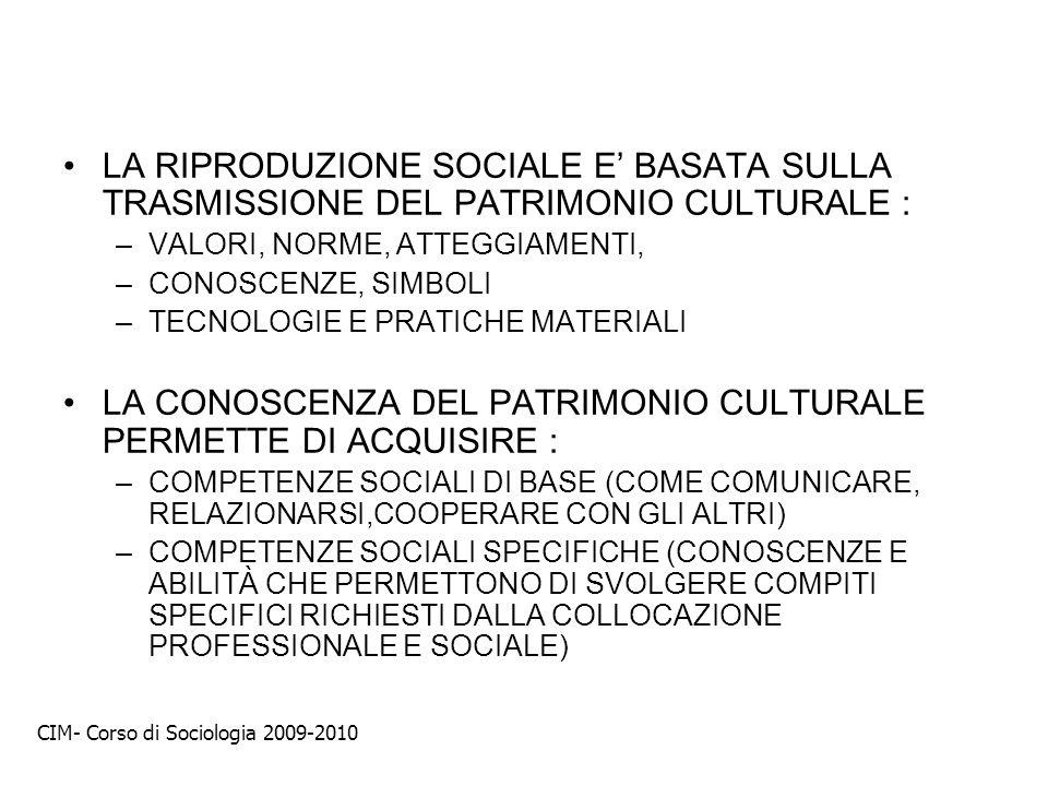 LA CONOSCENZA DEL PATRIMONIO CULTURALE PERMETTE DI ACQUISIRE :