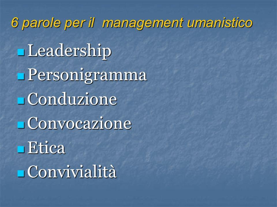 Leadership Personigramma Conduzione Convocazione Etica Convivialità