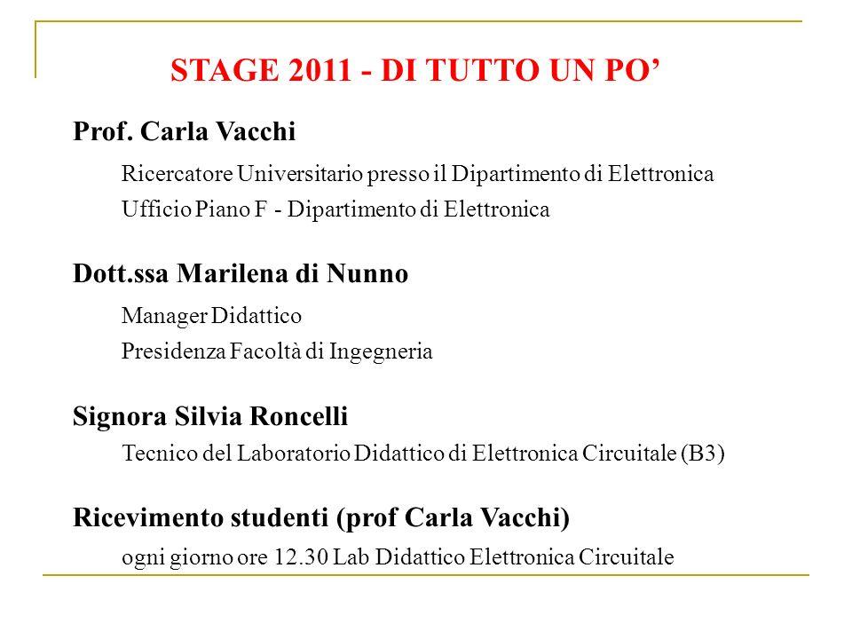 STAGE 2011 - DI TUTTO UN PO' Prof. Carla Vacchi