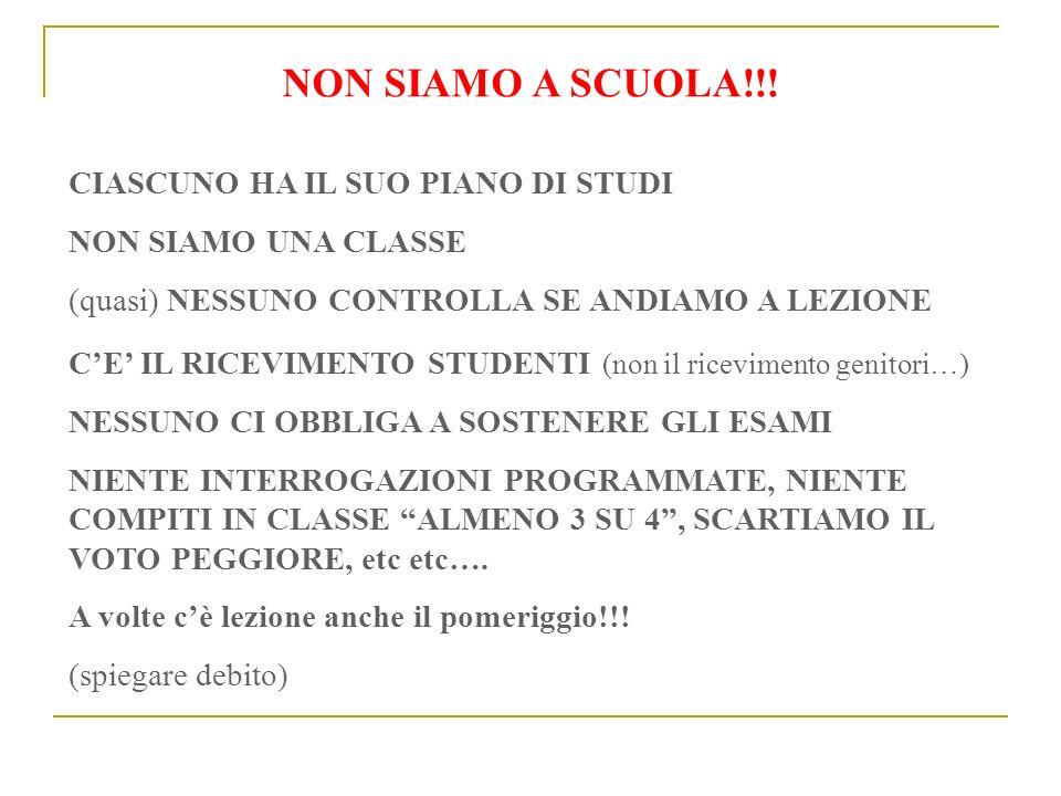 NON SIAMO A SCUOLA!!! CIASCUNO HA IL SUO PIANO DI STUDI