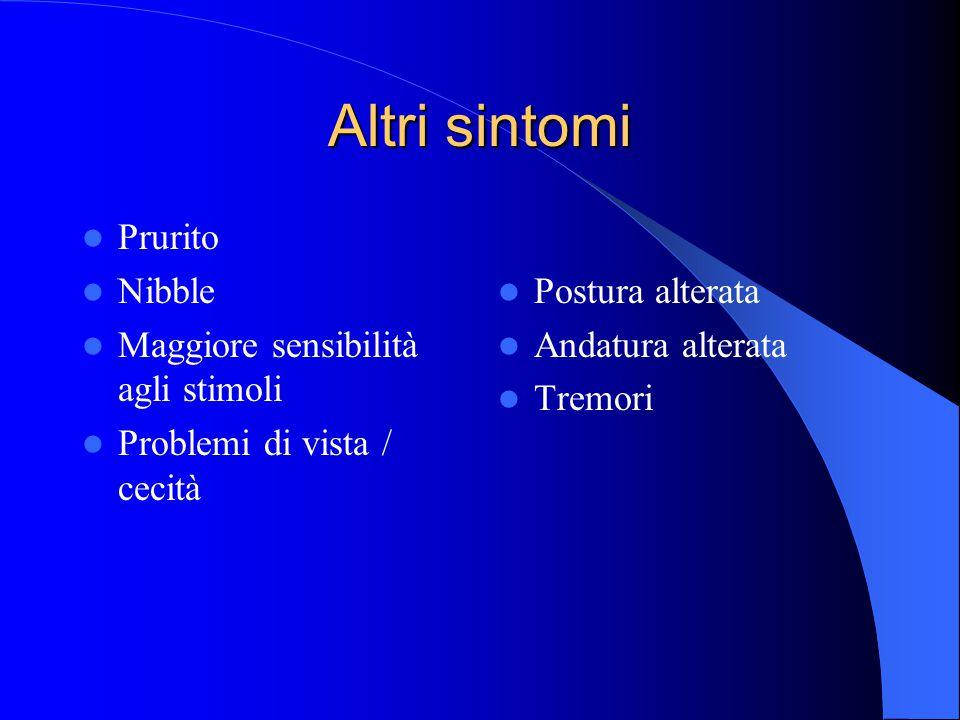 Altri sintomi Prurito Nibble Maggiore sensibilità agli stimoli