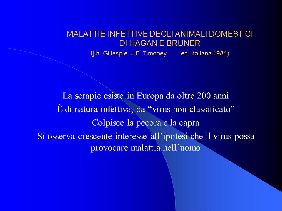 La scrapie esiste in Europa da oltre 200 anni
