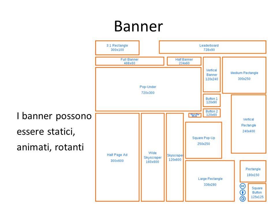 Banner I banner possono essere statici, animati, rotanti