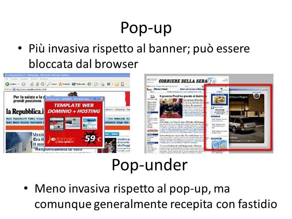 Pop-upPiù invasiva rispetto al banner; può essere bloccata dal browser. Pop-under.