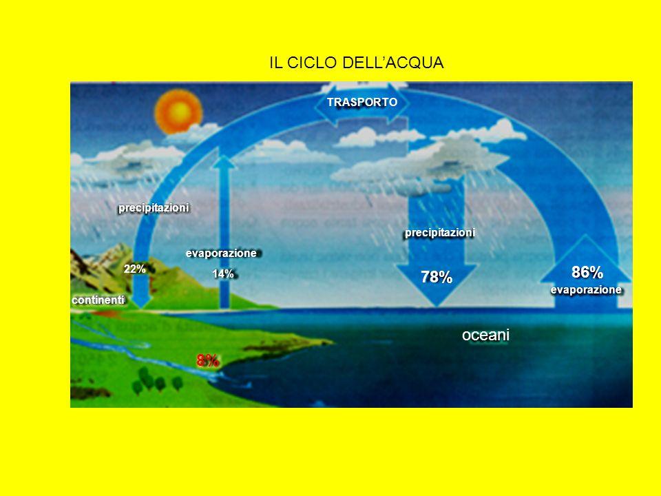 IL CICLO DELL'ACQUA 86% 78% oceani 8% TRASPORTO precipitazioni