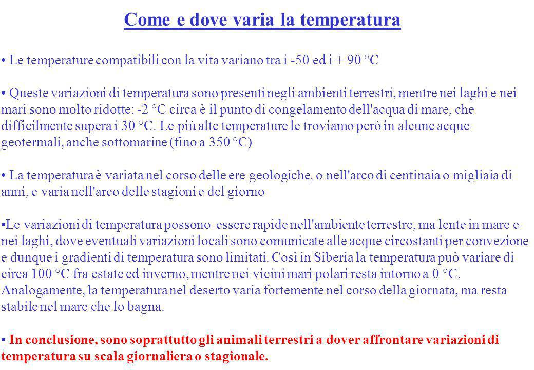 Come e dove varia la temperatura