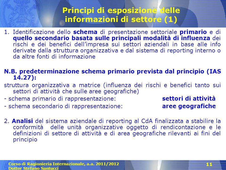 Principi di esposizione delle informazioni di settore (1)