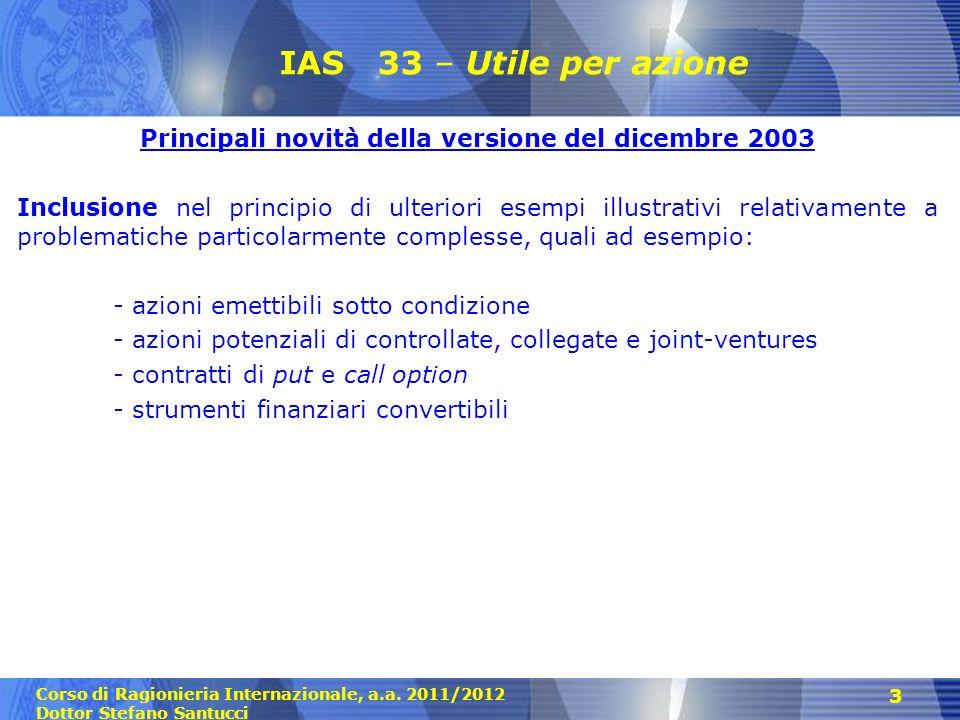Principali novità della versione del dicembre 2003