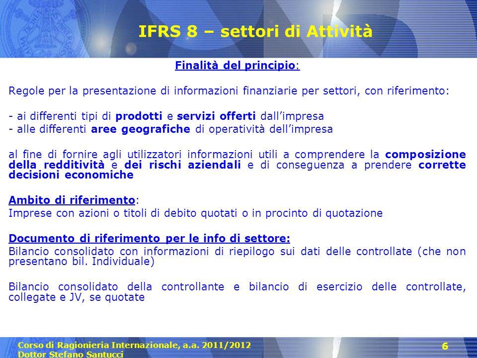 IFRS 8 – settori di Attività