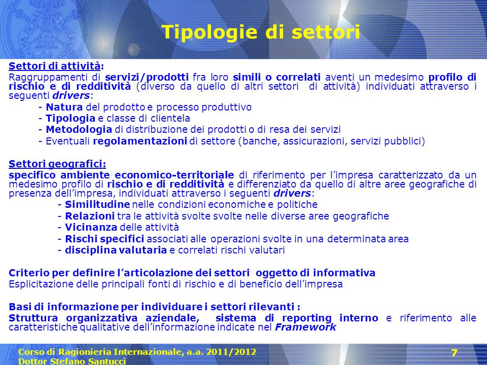 Tipologie di settori Settori di attività: