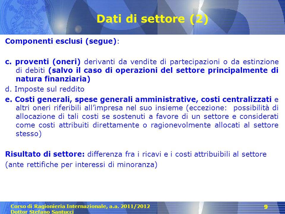 Dati di settore (2) Componenti esclusi (segue):