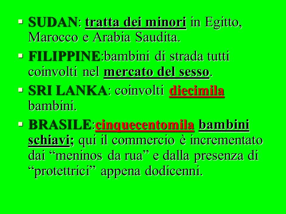 SUDAN: tratta dei minori in Egitto, Marocco e Arabia Saudita.