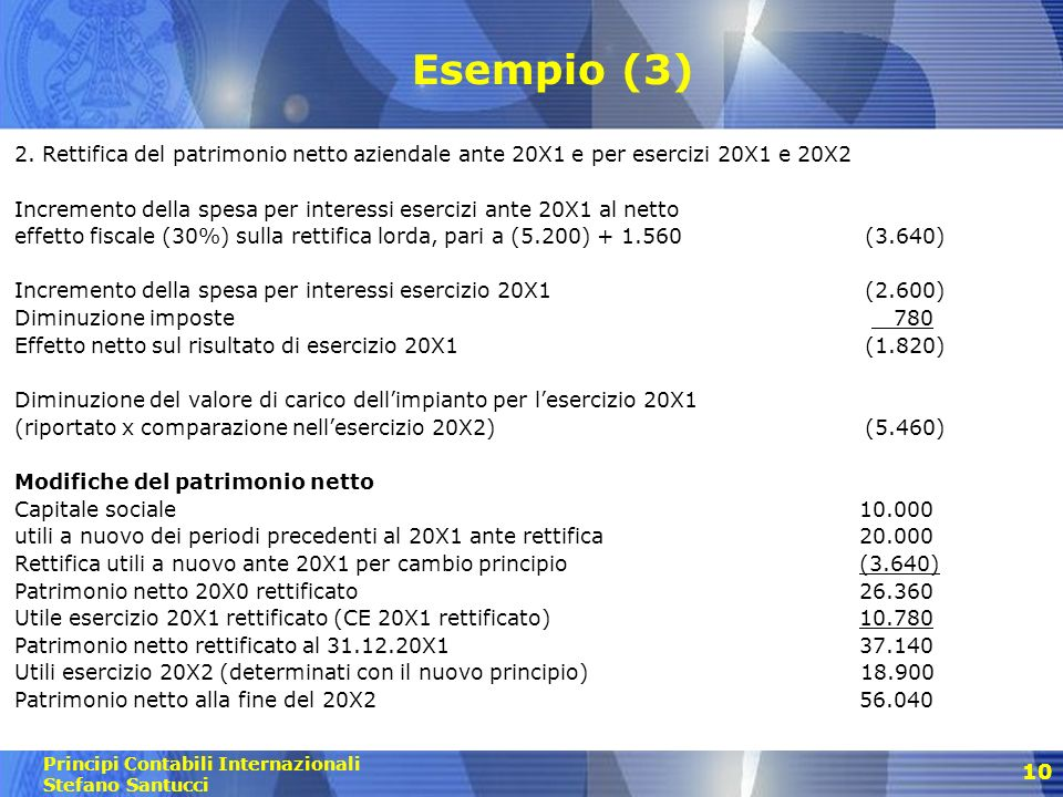 Esempio (3) 2. Rettifica del patrimonio netto aziendale ante 20X1 e per esercizi 20X1 e 20X2.