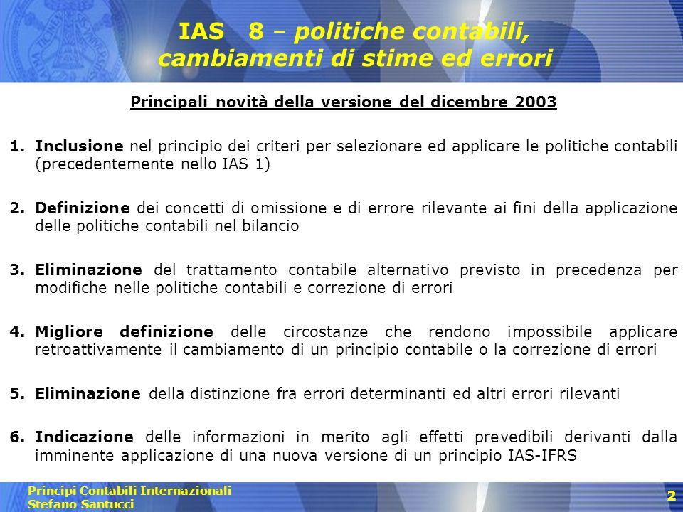 IAS 8 – politiche contabili, cambiamenti di stime ed errori