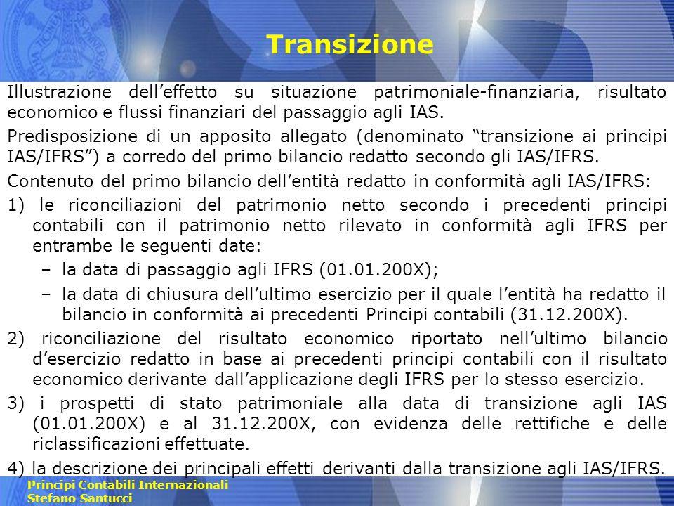 TransizioneIllustrazione dell'effetto su situazione patrimoniale-finanziaria, risultato economico e flussi finanziari del passaggio agli IAS.