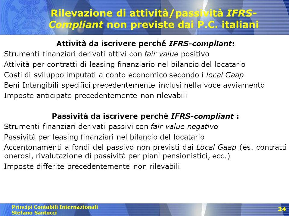 Rilevazione di attività/passività IFRS-Compliant non previste dai P. C