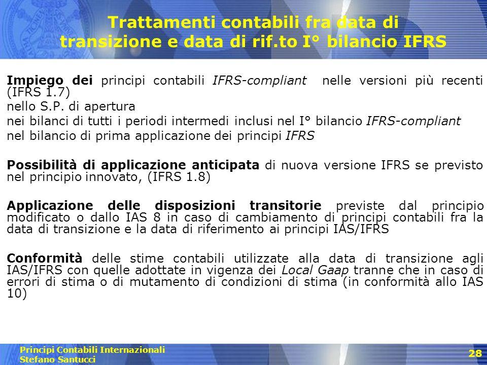 Trattamenti contabili fra data di transizione e data di rif