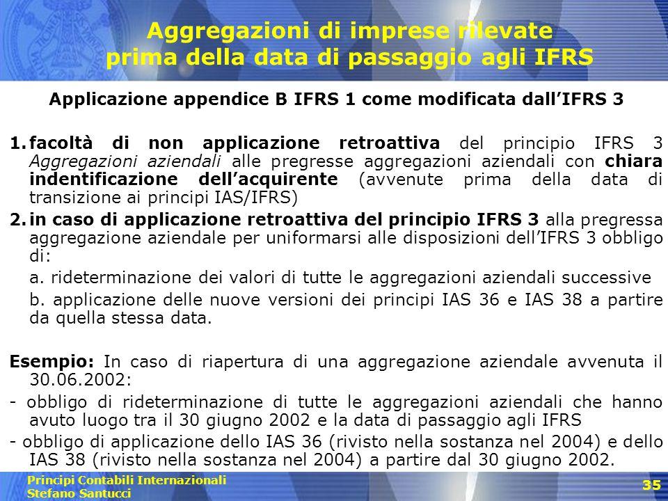 Applicazione appendice B IFRS 1 come modificata dall'IFRS 3