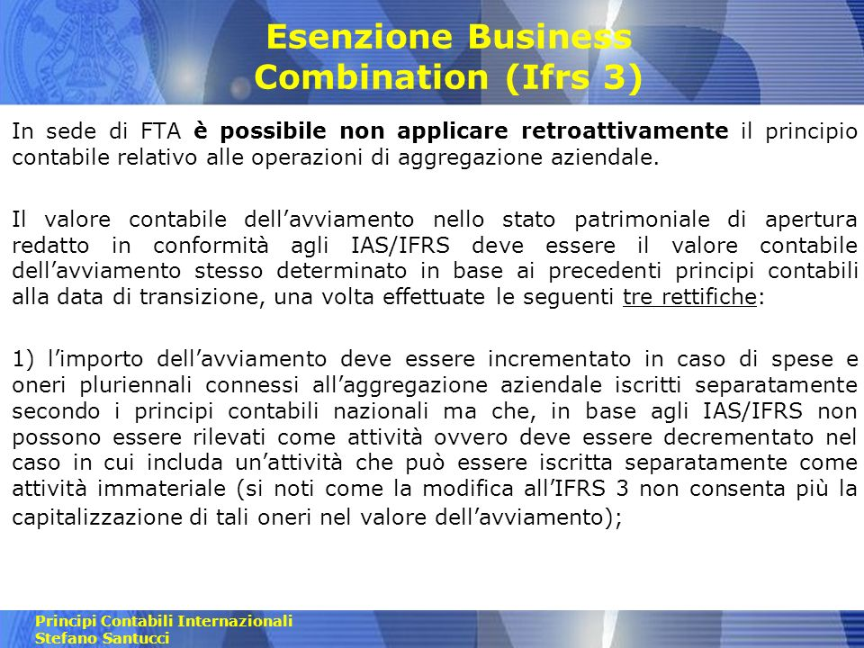 Esenzione Business Combination (Ifrs 3)