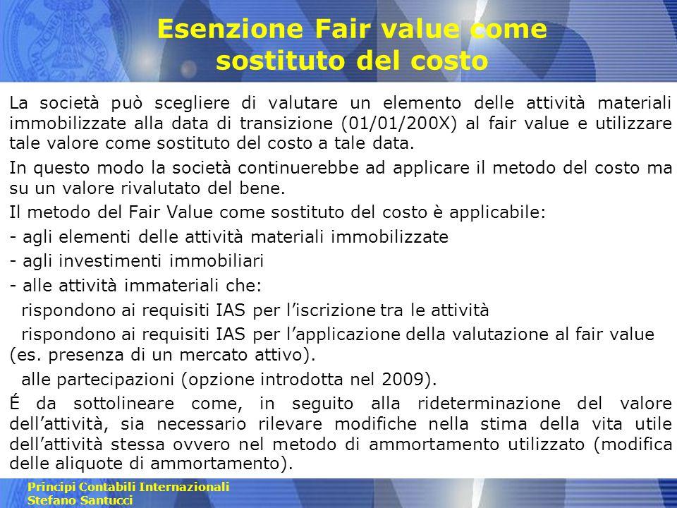 Esenzione Fair value come sostituto del costo