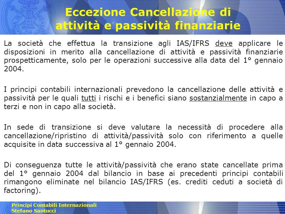 Eccezione Cancellazione di attività e passività finanziarie