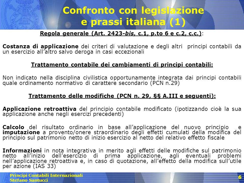 Confronto con legislazione e prassi italiana (1)