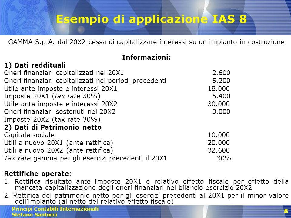 Esempio di applicazione IAS 8