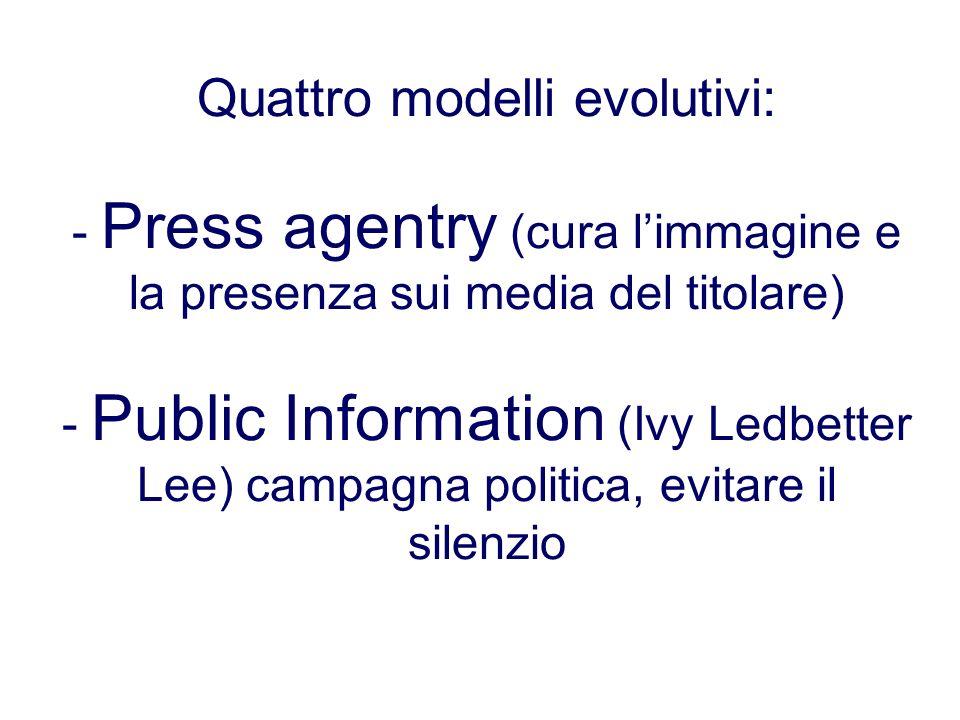 Quattro modelli evolutivi: - Press agentry (cura l'immagine e la presenza sui media del titolare) - Public Information (Ivy Ledbetter Lee) campagna politica, evitare il silenzio