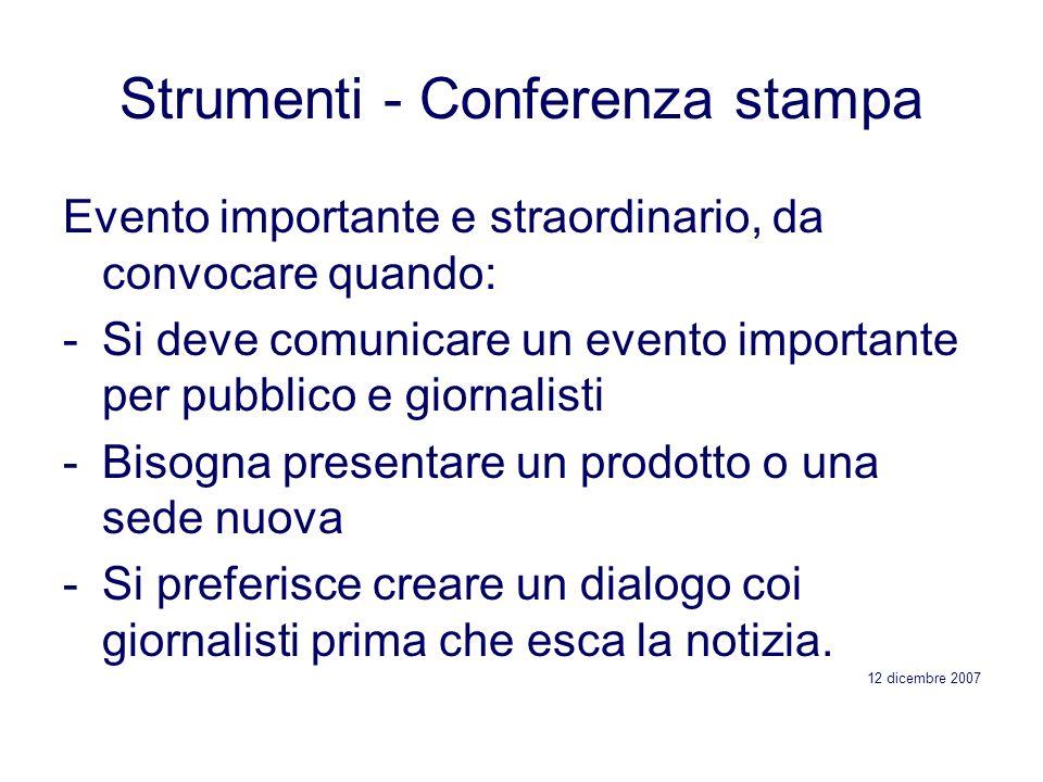 Strumenti - Conferenza stampa